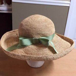 0ad7d384a0f99 Helen Kaminski Raffia Straw Hat Green Ribbon